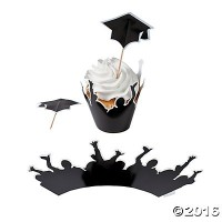 Graduation Cupcake Wrappers with Picks , 100個Makes 50