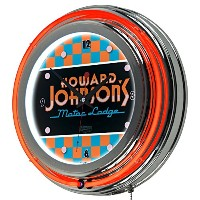 Howard Johnson Checkered Chrome Double Ring Neon Clock [並行輸入品]