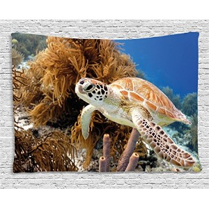 Turtleタペストリーby Ambesonne、Close UpフォトのグリーンTurtle at Sipadan BorneoマレーシアCute Animal Under The Sea ,...