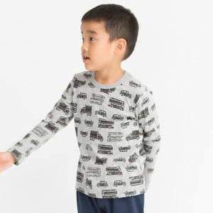【3can4on(Kids) (サンカンシオン)】恐竜&星&車総柄プリントプルオーバーキッズ トップス|カットソー・Tシャツ グレー
