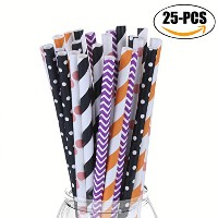 Coxeer装飾ハロウィンペーパーストローColored Drinking Straws