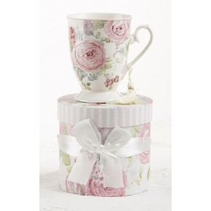 Delton製品Peony Porcelain Tea / Coffee MUG INギフトボックス