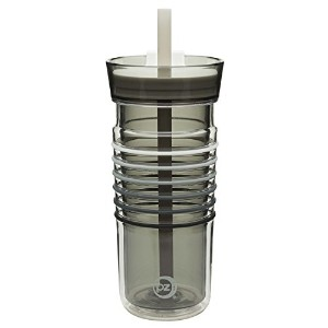 Zak 。Designs HydraTrak Insulated Tumbler with Straw、BPAフリー、20オンス、クリア 16 oz. Straw 2184-R641-B