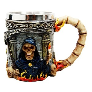 Atlantic Collectibles Day of the Dead Holy Death Fire Grim Reaper With ScytheビールジョッキTankardコーヒーカップDr...