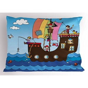 Pirate Pillow Sham by lunarable、子供用Pirate Ship with Funny子Adventure Ocean Journey波鳥雲、装飾標準サイズプリント枕カバー...