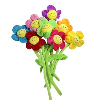(33cm ) - Plush Daisy Flower With Smiley Happy Faces Cloths Bendable Stems Sunflower Toy For...