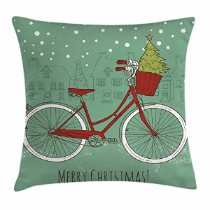 クリスマススロー枕クッションカバーby Ambesonne、Hand DrawnヴィンテージBike with Small Xmas Tree House Silhouettes雪...