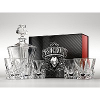 Iceberg Whiskey Decanter and Whiskey Glasses Set by Ashcroft Fine Glassware。5ピースセット。