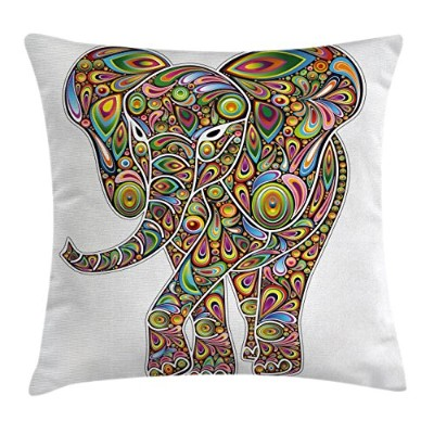 Psychedelicスロー枕クッションカバーby Ambesonne、Large Eastern Elephant Figure Trippy Pattern Boho Art Savannah図...