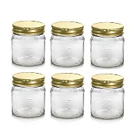 Nakpunar 6個8 oz Square Mason Glass Jar with測定1 / 3カップ、2 / 3カップ