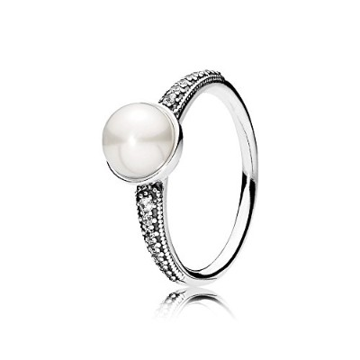 PANDORA Rings パンドラリングエレガントで美しい真珠ジルコン-Freshwater Cultured Pearl Silver Ring with Clear Cubic...
