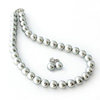 One&Only Jewellery 貝パール 12mm ネックレス & イヤリング 2点セット(グレー)