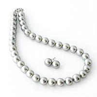 One&Only Jewellery 貝パール 12mm ネックレス & ピアス 2点セット(グレー)