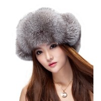 Silver Fox Fur & Fabric Russian Ushanka Hats with Pom Poms