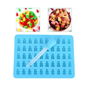 coscosx Bear金型、50キャビティDIY MiniシリコンGummy Bear Candy Mold with a dropper for CookieチョコレートMaking ブルー...