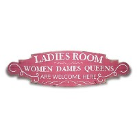 E-Goal   Ladies Room Women Dames Queens are Welcome Here  ドアサイン 木製 装飾 人気 サインボード 看板