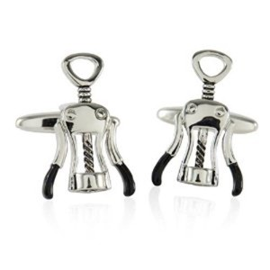 Corkscrew Wine Opener CufflinksアルコールOffice +ボックス&クリーナー