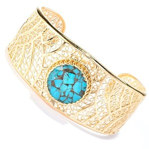18 K Gold overブロンズフィリグリーCuff Bracelet with Roundブルー/グリーンクォーツDoublet