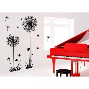 Good Life Black Dandelion Flower Plant Tree Large Removable PVC Wall Decal Sticker by Toppoint