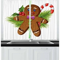 Gingerbread Manカーテンby Ambesonne、かわいいTasty Pastryのconiferous分岐Candy Cane and Holly Berry、リビングルームベッドルー...