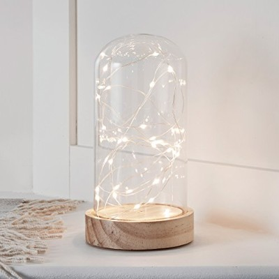 """(Tall) - Battery Operated LED Fairy Light Glass Dome with Wooden Base - 9"""" x 4.5"""""""