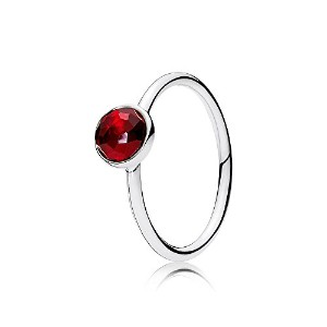 PANDORA Rings パンドラリング7月の水滴女性の誕生日プレゼント-July Birthstone Silver Ring with Synthetic Ruby, 6 mm