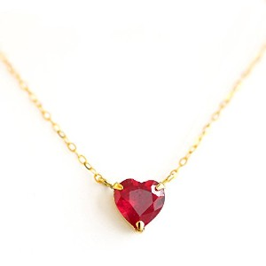 One&Only Jewellery 【鑑別書付】 1ct 天然 ルビー K18 ネックレス ペンダント 7月誕生石 (ハート)