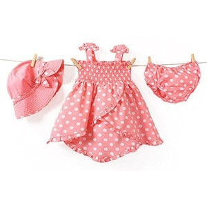 Baby Rae Clothing 3 in 1 Set: Dress+Hat+Underpants -Pink Polkadot by Baby Rae