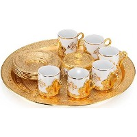 ( Choose Yourセット) 6 xトルコスタイルTea Glasses with Holders Lids and Saucersセット、100 ml (ゴールド、ホルダー)
