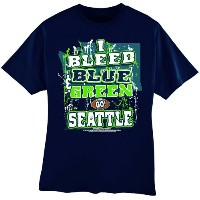 "NFL Seattle Seahawks Football "" I Bleedブルー&グリーン – Go Seattle!」Tシャツ、ブルー、XXL"
