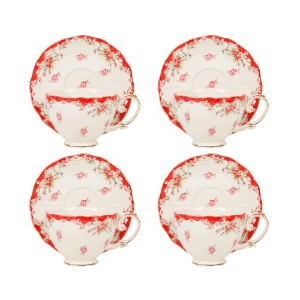 Gracie中国ヴィンテージ磁器7-ounce Tea Cup and Saucer Set of 4 レッド FD157R-4