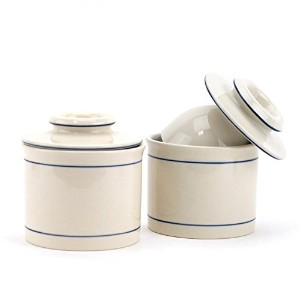 バターキーパー、ホワイト元French Butter Keeper Crock Pottery ( Pack of 2 )