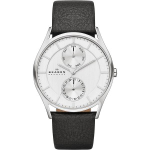 スカーゲン メンズ 腕時計 アクセサリー Klassik Men's Multifunction Three-Hand Leather Watch 35800