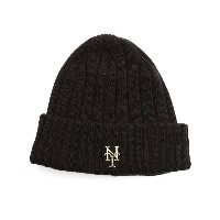 ニューエラ メンズ 帽子 ニット【new york mets badge slick knit hat】Black