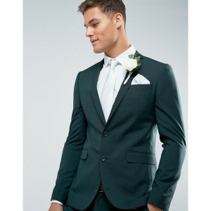 エイソス メンズ ジャケット&ブルゾン アウター ASOS Wedding Skinny Suit Jacket in Forest Green with Printed Lining Dark...
