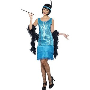 Smiffys Women's Blue Flirty Flapper Costume - Us Dress 14-14