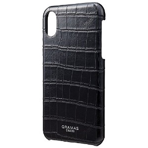 "GRAMAS グラマス iPhone X アイフォン X ハードケース COLORS ""EURO Passione Croco"" Shell PU Leather Case Black"