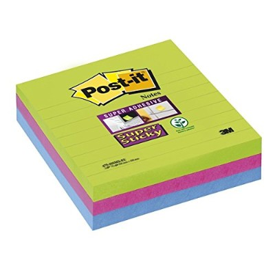 Post-it Super Sticky Ultra Colours - Limeade, Fuschia & Turquoise - 3 Pads Per Pack - 70 Sheets Per...