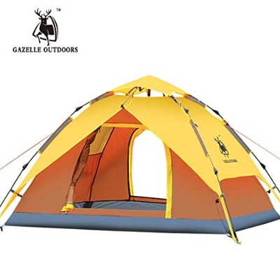 GAZELLE OUTDOORS 二層タイプテント ワンタッチテント  設営簡単  3-4人用  イエロー&ブラウン
