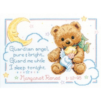 "Cuddly Bear Birth Record Counted Cross Stitch Kit-12""X9"" 14 Count (並行輸入品)"