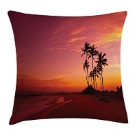 Oceanスロー枕クッションカバーby Ambesonne、エキゾチックビーチフォトover the ocean Fantastic Hawaii Palm Trees At Sunrise夏Wond...