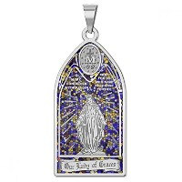 Our Lady of Gracesメダイ–ステンドグラスReligious Medal