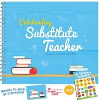 Substitute先生ギフト – 認識賞for the best substitute teacher ever。Funnyメモリ小冊子with Stickers and MatchingカードIn...