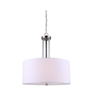 CANARM ICH578A03BN18 River 3 Bulb Chain Chandelier Brushed Nickel with White Fabric Shade, Frosted...