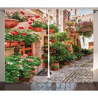 Tuscanインテリアカーテン2パネルセットby Ambesonne、Street View of a Small Renaissance Townフローラル柄Porches and...