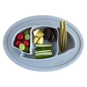 Silicone baby dining plate (grey elephant) by Little Bot Baby リトルボットベビーシリコンダイニングプレート(グレーゾウ)