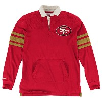 San Francisco 49ers Mitchell & Ness NFL Premium Long Sleeve Rugby Shirt Chemise
