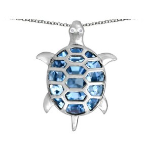 STAR K Good Luck Turtle Pendant with Oval Stone