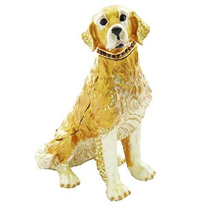 Collectable Enameled Golden Retriever Dog Figurine Trinketジュエリーボックスwith Swarovski Elementsクリスタル