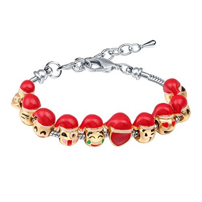 (500BQ Multicolor) - Bracelets for Girls MANBARA Bracelet for Woman Gold Charms Bangles 10pcs Emoji...